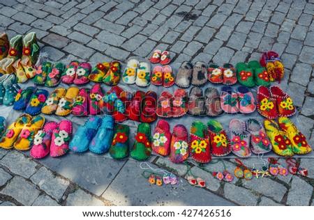 wool slippers in Sighnaghi town, Kakheti region, Georgia - stock photo