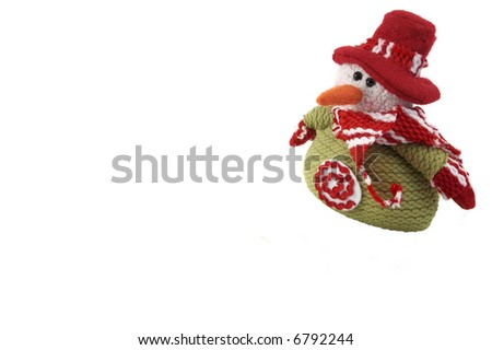 wool Snowman isolated on white. With an - stock photo
