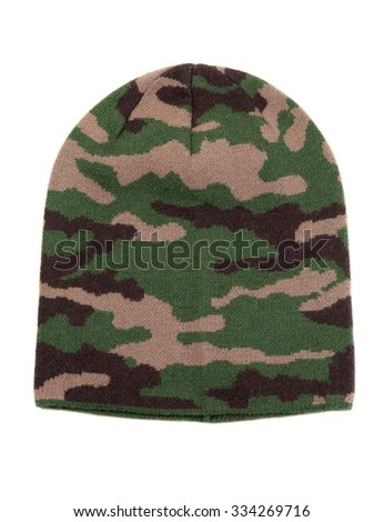 Woolen cap military. Isolate on white. - stock photo