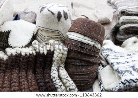 Woolen clothes. Winter background. - stock photo