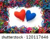 woolen picture with colors hearts - stock photo