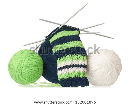 Woolen thread with incomplete socks isolated on white background - stock photo