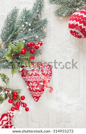 Woolly Christmas Ornaments Decoration. . Christmas ornaments with copy space - stock photo