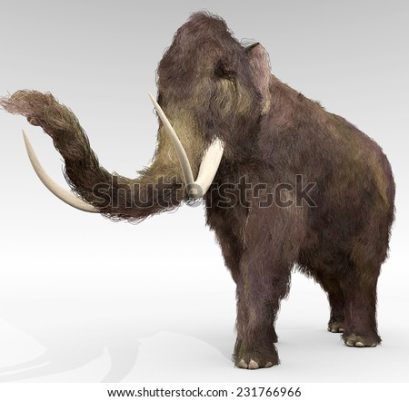 Woolly Mammoth - An illustration of the large extinct Woolly Mammoth. - stock photo