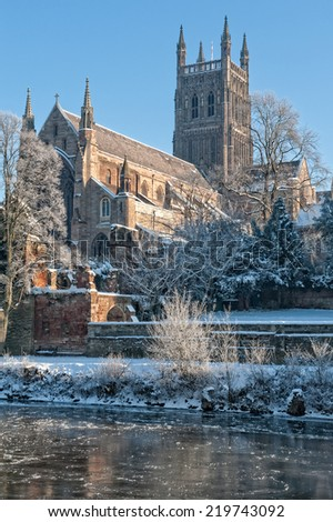 Worcester Cathedral on a cold day in Winter - stock photo