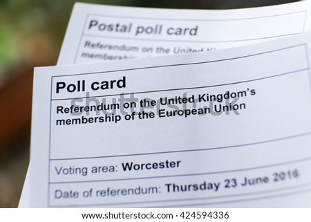 WORCESTER, UK - MAY 2016: A poll card for the referendum on the UK's membership of the EU - stock photo
