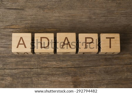 word adapt on wooden cubes - stock photo