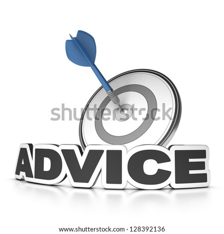 Word advice, 3D render with dart hitting the center of a target, white background