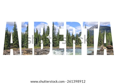 Word Alberta. Rocky Mountains waterfall landscape. Jasper, Alberta. Canada - stock photo