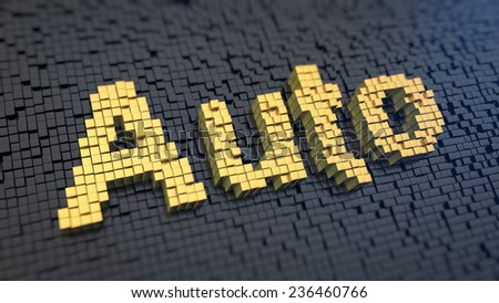 Word 'Auto' of the yellow square pixels on a black matrix background. Transport concept. - stock photo