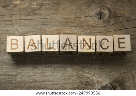 Word Balance on wooden toy blocks - stock photo