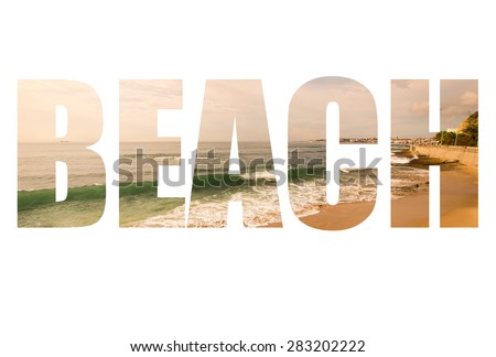 Word BEACH over the sandy shores of the Atlantic Ocean. Portugal. Toned. - stock photo
