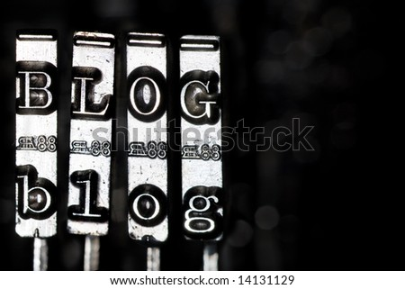 Word BLOG composed from keys of vintage typewriter - stock photo