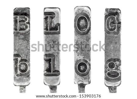 Word BLOG in Vintage Typewriter Typebars Isolated on White Background - stock photo