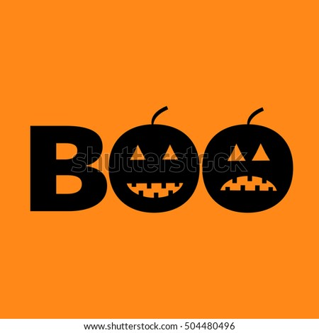 Word BOO text with smiling sad black pumpkin silhouette. Happy Halloween. Greeting card. Flat design. Orange baby background.