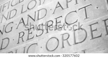 Word Carved in Stone Granite Respect - stock photo