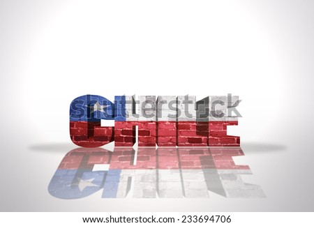 Word Chile with National Flag on the white background