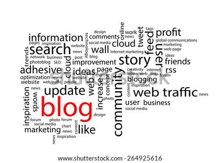 Word cloud. Blog concept - stock photo