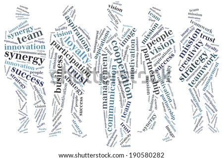 Word cloud business related in shape of group of business people - stock photo