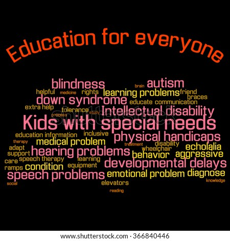 Word cloud (collage). Children with special needs education. Book shape, colorful words, black background. Illustration for web or typography (magazine, brochure, flyer, poster), EPS 10. - stock photo