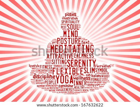 word cloud composed in the shape of a man doing yoga meditation pose - stock photo