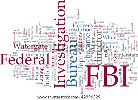 Word cloud concept illustration FBI Federal Bureau of Investigation - stock photo