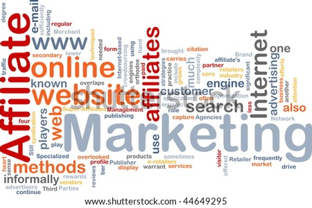 Word cloud concept illustration of affiliate marketing