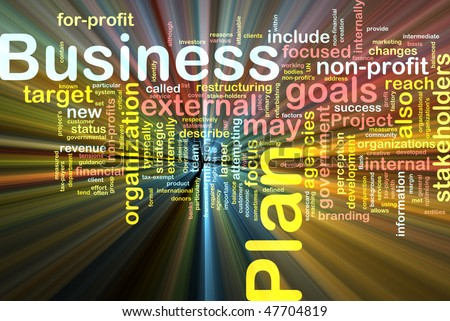 Word cloud concept illustration of business plan glowing light effect - stock photo