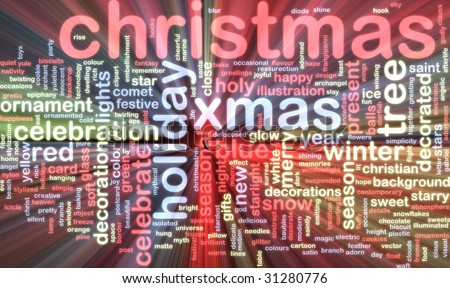 Word cloud concept illustration of christmas xmas glowing light effect