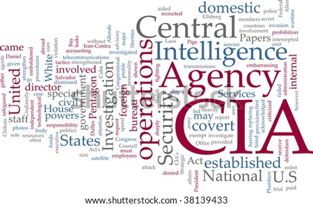 Word cloud concept illustration of  CIA Central Intelligence Agency - stock photo