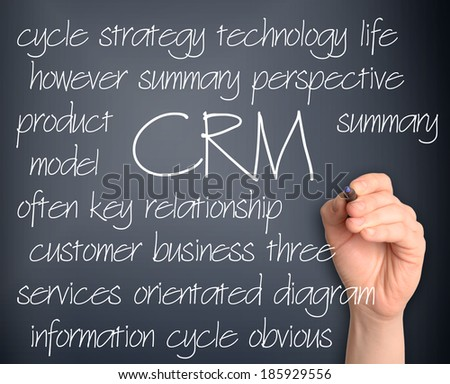 Word cloud concept illustration of CRM Customer Relationship Management handwritten on dark background - stock photo