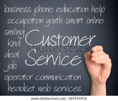 Word cloud concept illustration of customer service handwritten on dark background - stock photo