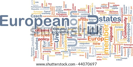 Word cloud concept illustration of EU European Union