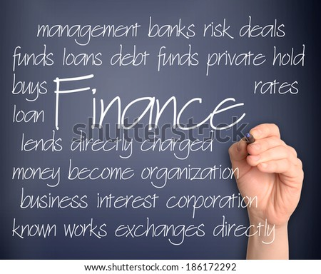 Word cloud concept illustration of finance handwritten on blackboard