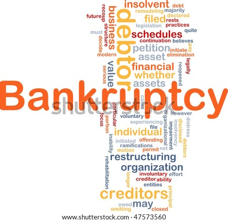 Word cloud concept illustration of financial bankruptcy - stock photo