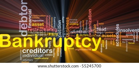 Word cloud concept illustration of financial bankruptcy glowing light effect - stock photo