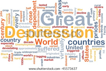Word cloud concept illustration of Great Depression - stock photo