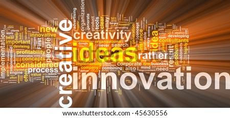 Word cloud concept illustration of innovation creative glowing light effect - stock photo