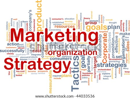 Word cloud concept illustration of marketing strategy