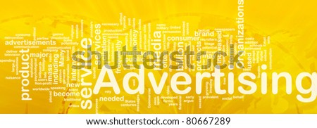 Word cloud concept illustration of media advertising international - stock photo