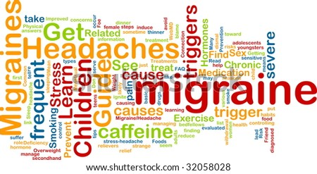 Word cloud concept illustration of  migraine headache