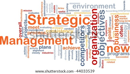 Word cloud concept illustration of strategic management
