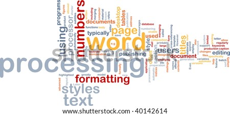 Word cloud concept illustration of word processing
