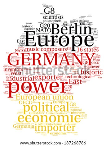 Word cloud concept of map of Federal Republic of Germany - stock photo