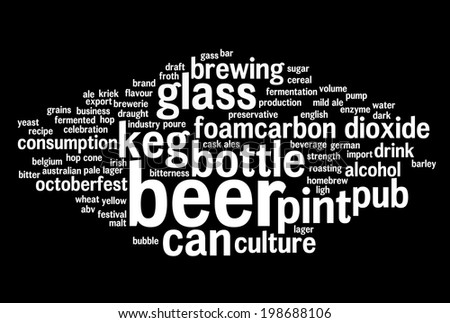 Word cloud containing expressions regarding beer. White words on black background.