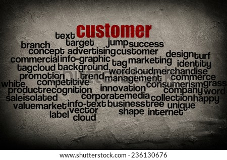 word cloud containing words related to customer  on grunge wall background  - stock photo