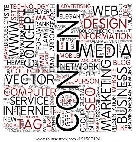 Word cloud - content - stock photo