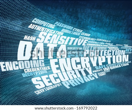 Word cloud data encryption concept background illustration which can be used for brochures, infographics, web design, etc. - stock photo