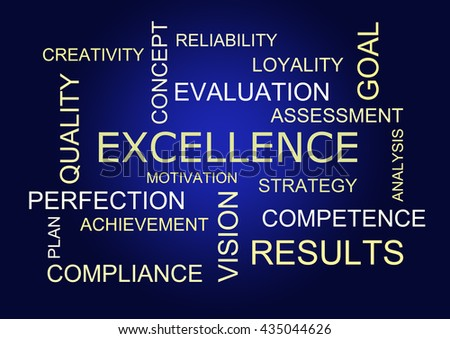 word cloud for business, excellence and strategy - stock photo