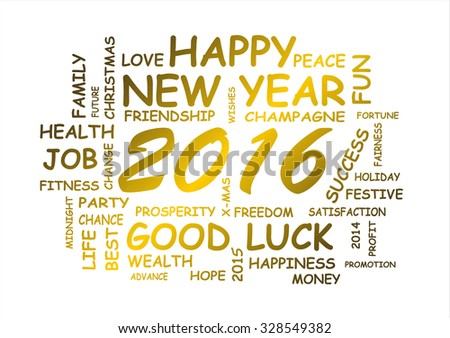 word cloud for happy new year 2016  - stock photo